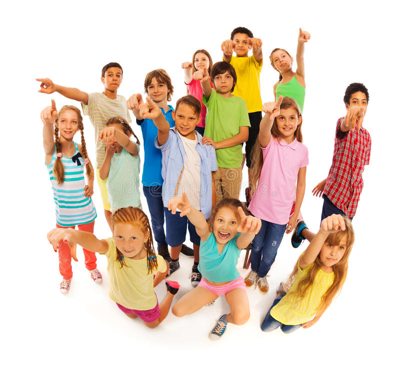 站立束不同的孩子指向照相机 库存照片