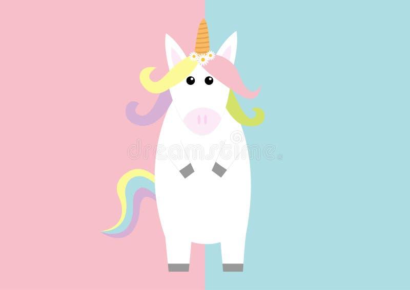 站立淡色彩虹头发,雏菊春黄菊花的独角兽 Kawaii头面孔 平的位置设计 逗人喜爱的动画片婴孩字符 向量例证