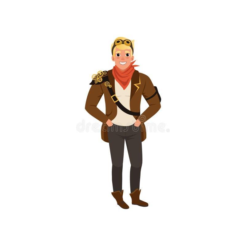 站立用在口袋的手的微笑的steampunk人 衬衣的,裤子,棕色夹克,在脖子的红色方巾人和 向量例证