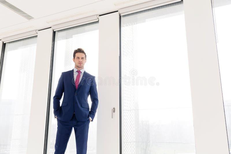 站立用在口袋的手的确信的年轻商人画象反对办公室窗口 库存照片