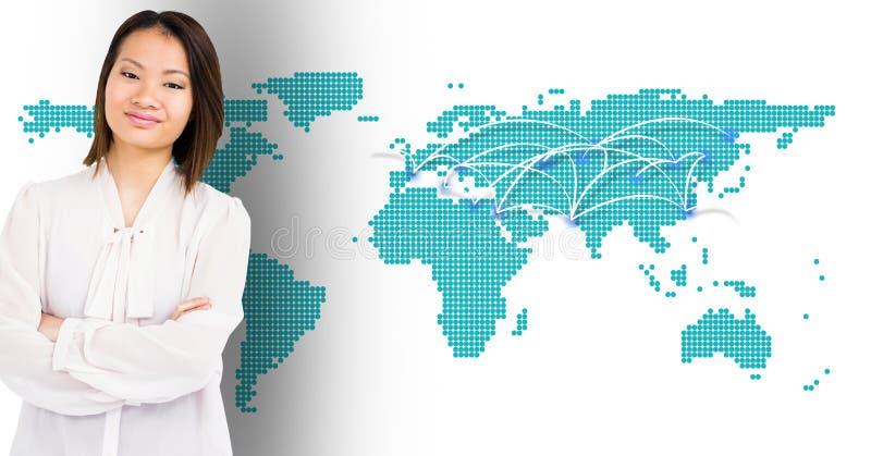 站立用她的手的妇女横渡了反对数位引起的世界地图背景 向量例证