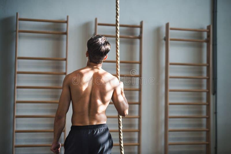 站立的健身房的适合的年轻人露胸部,拿着一条上升的绳索 查出的背面图白色 免版税图库摄影