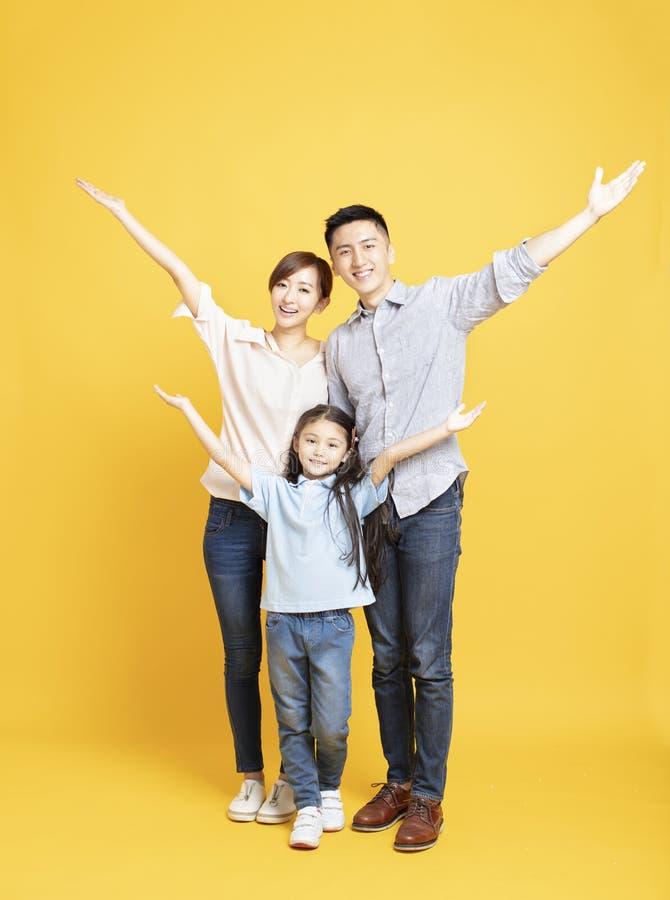 站立的幸福家庭一起隔绝 免版税库存照片