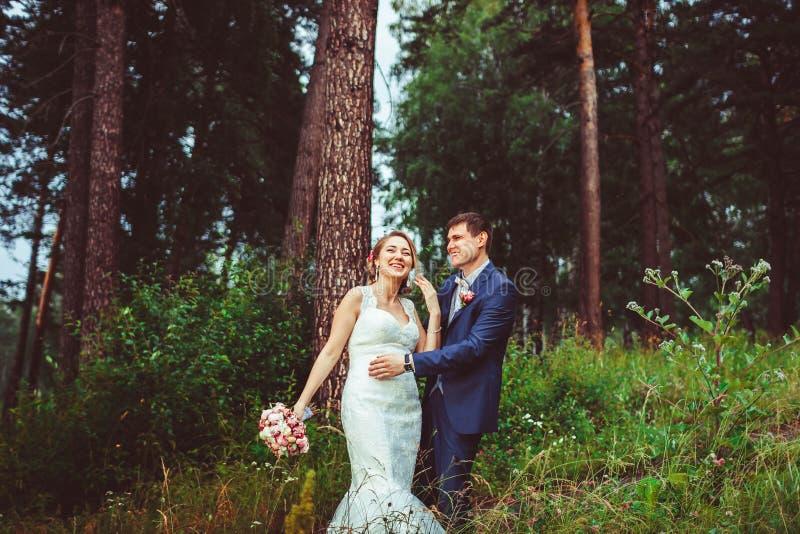 站立的新娘和新郎户外 库存图片