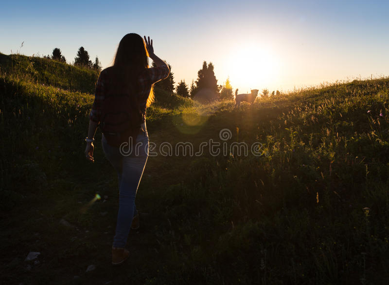 站立的日落或的日出的愉快的庆祝的赢取的成功妇女兴高采烈与胳膊在她的头上上升了  图库摄影