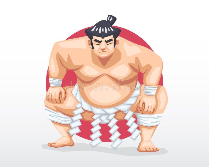 站立的相扑蹲下与红色圈子的姿态当背景例证 库存例证