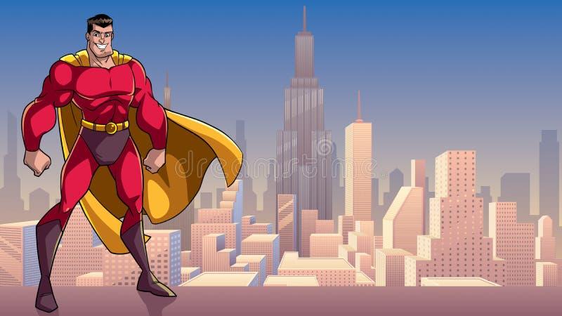 站立的超级英雄高在城市 库存例证