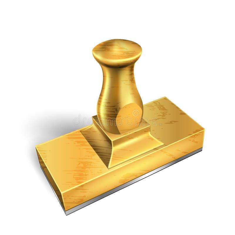 站立的金黄金属办公室邮票铅板传染媒介 皇族释放例证