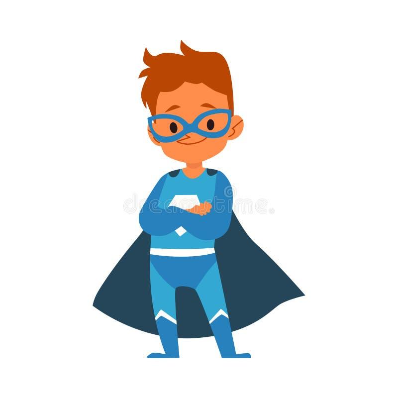 站立被折叠的胳膊动画片样式的蓝色超级英雄服装的小男孩 皇族释放例证