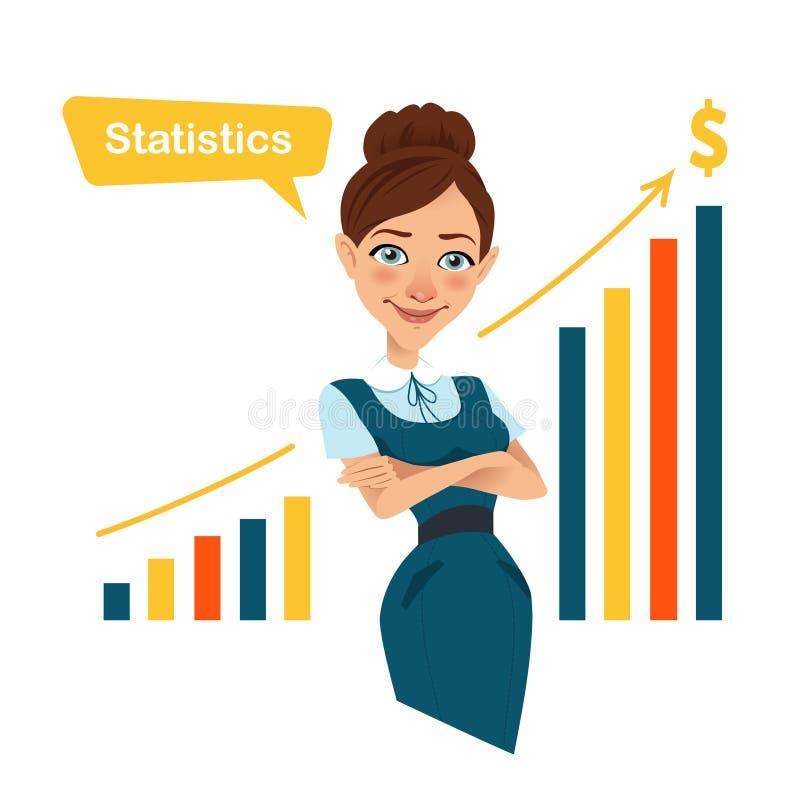 站立近的利润增长图的妇女金融家 皇族释放例证
