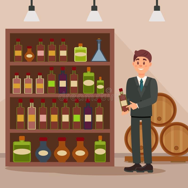 站立近的架子用酒精饮料的人 酒店的顾问卖主 在背景的木桶 平面 向量例证