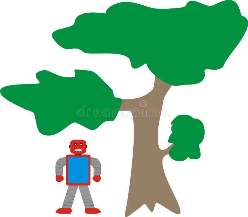 站立近的树模型A1蓝色红色灰色的阿荣机器人 免版税库存照片