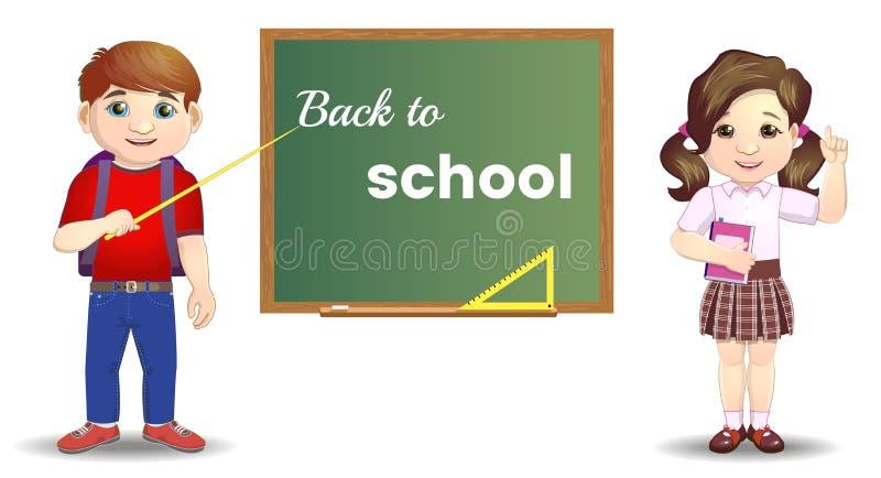 站立近的黑板的逗人喜爱的学校孩子 回到概念学校 学生编组在类板回到校旗 向量例证