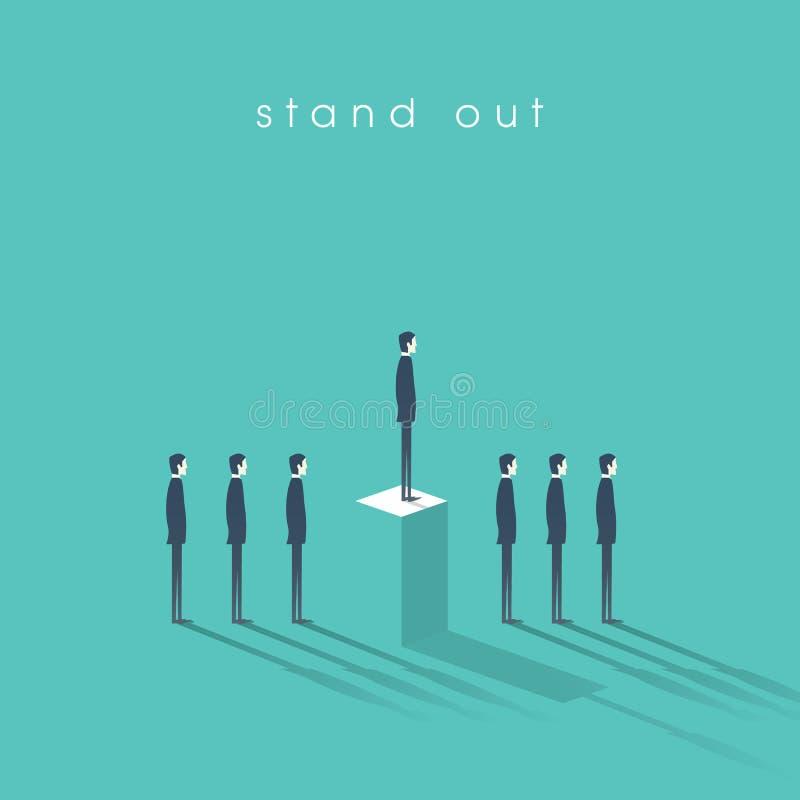 站立从与商人的人群企业概念在线 天分或特别技能标志 向量例证