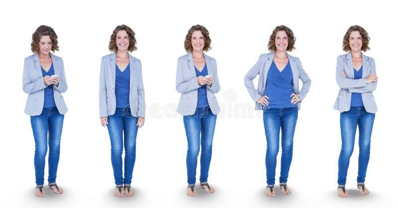 站立以各种各样的姿势的妇女的多重图象 免版税库存照片