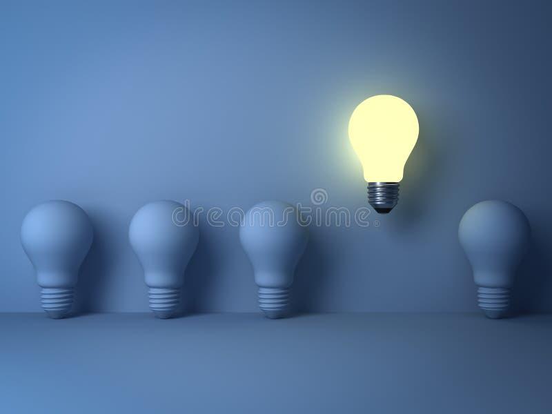 站立从在蓝色背景的未点燃的白炽电灯泡的一个发光的电灯泡与阴影 向量例证