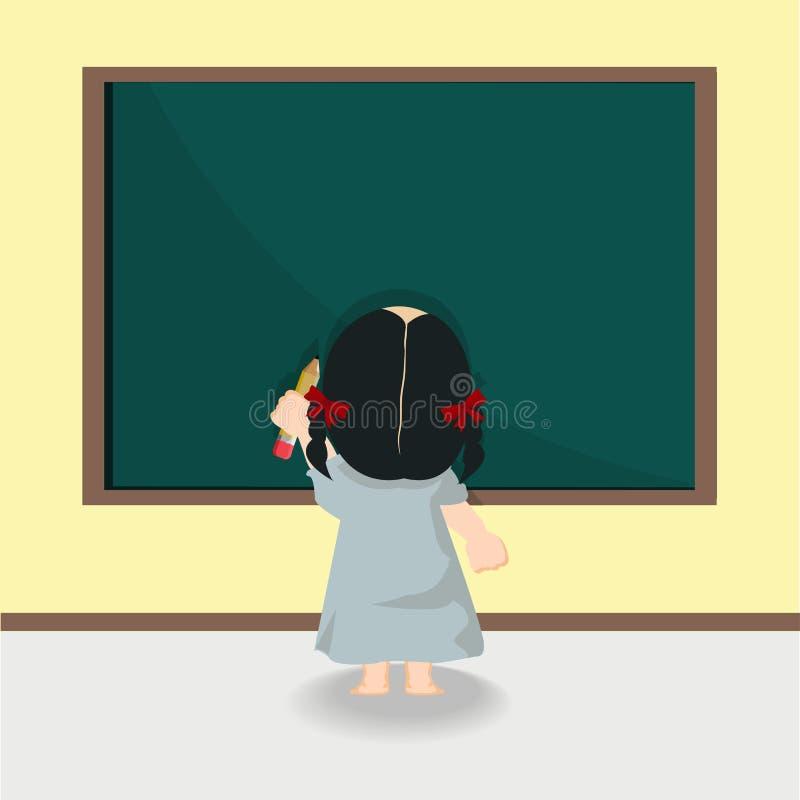 站立黑板的儿童女孩 皇族释放例证