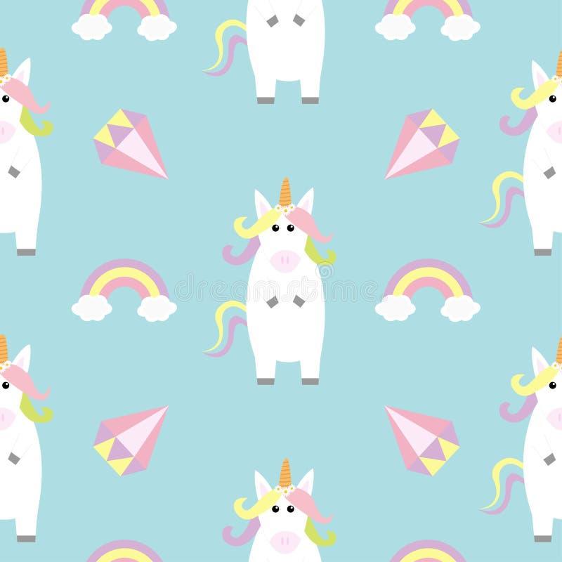 站立Kawaii顶头面孔的独角兽 精采彩虹的金刚石 淡色 逗人喜爱的动画片婴孩字符 滑稽的马 无缝的轻拍 皇族释放例证