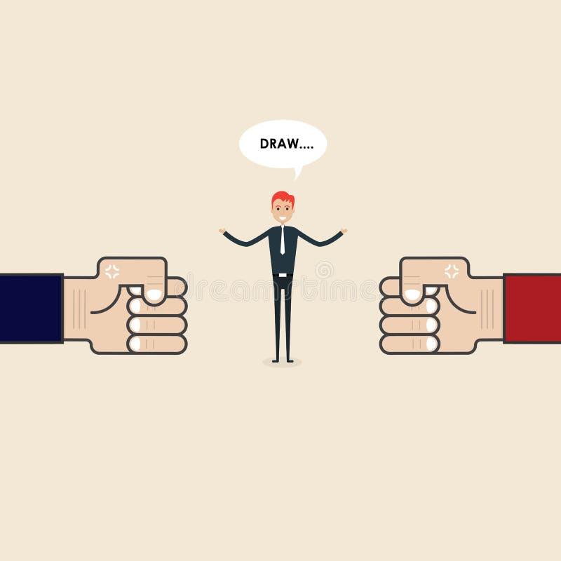 竞争、斡旋或者裁判员概念 商人和蓝色,关于 向量例证