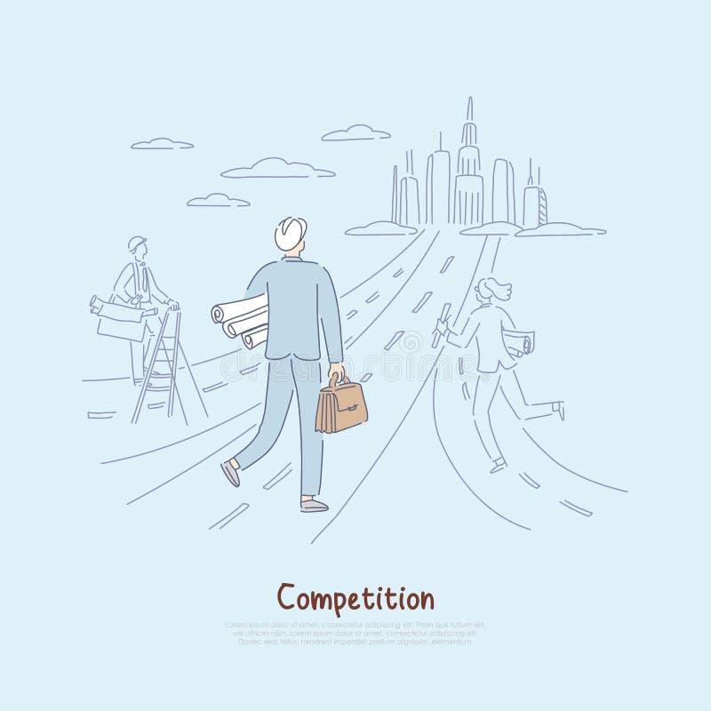 竞争在劳动力市场上,战斗为事业机会隐喻,建筑师,提供项目横幅的设计师 向量例证