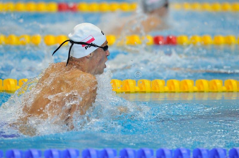 竞争在罗马尼亚国际冠军游泳的迪纳莫队水池的Nknown游泳者 免版税库存照片