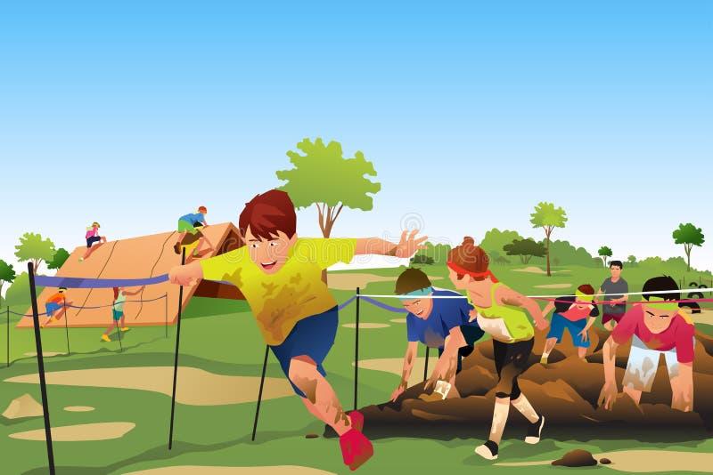 竞争在障碍连续路线竞争中的孩子 库存例证
