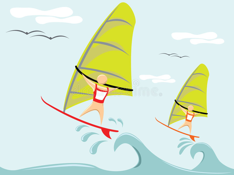竞争对手风帆冲浪 向量例证
