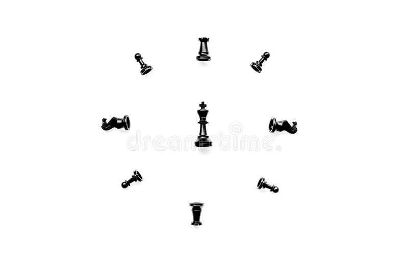 竞争或胜利或者战略概念 在白色背景顶视图样式拷贝空间的棋形象 库存照片