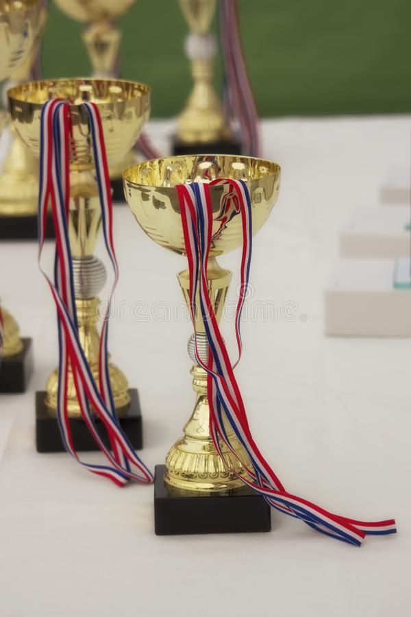 竞争的优胜者的金黄战利品在桌上的 库存图片