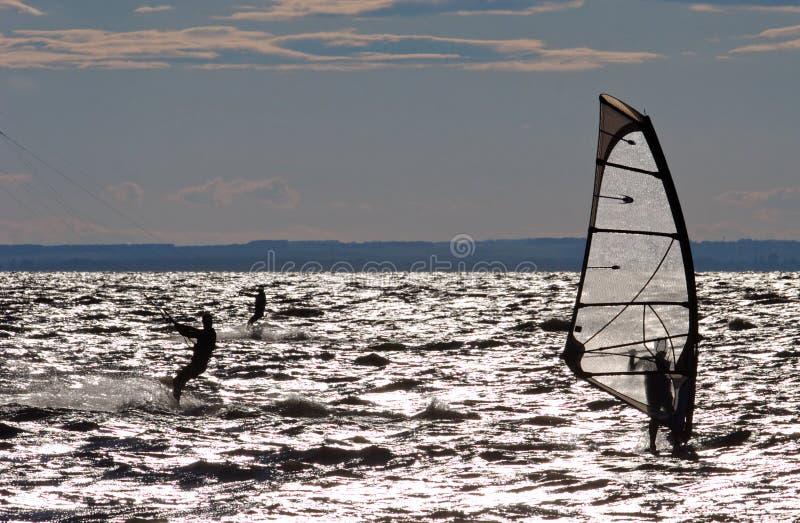 竞争风帆冲浪 库存图片