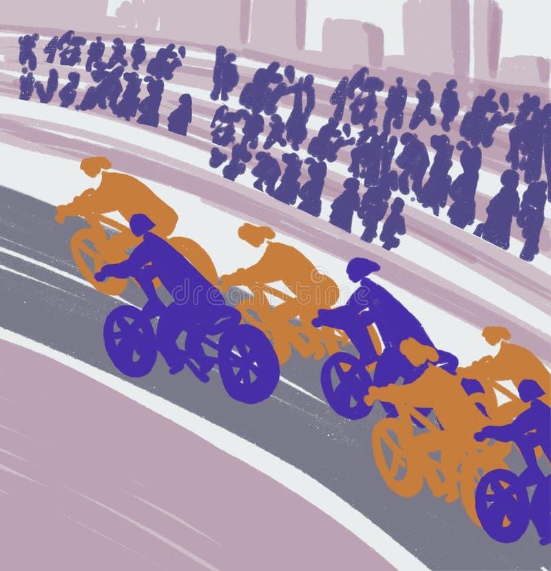 竞争骑自行车者,骑自行车者在路乘坐 库存例证
