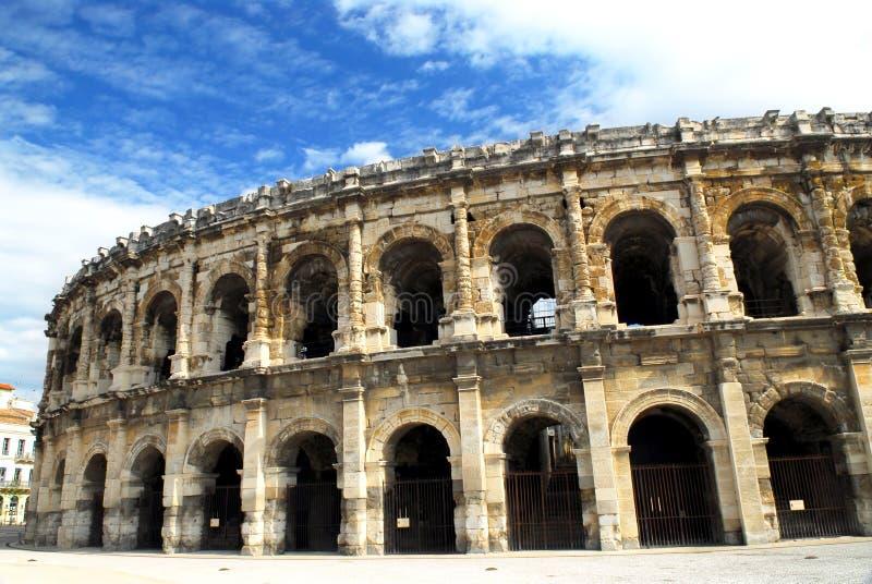 竞技场法国罗马的尼姆 库存照片