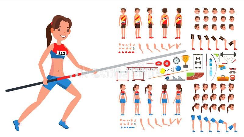 竞技球员男性,女性传染媒介 运动员给字符创作集合赋予生命 人,全长的妇女,前面,边,后面 库存例证