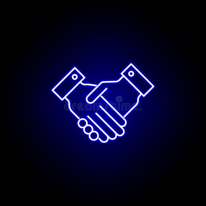 竞选在霓虹样式的握手象 E 向量例证
