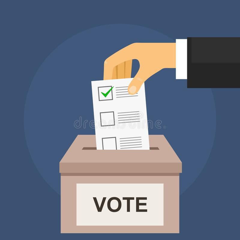 竞选概念的表决 手在箱子投入投票的选票 向量例证