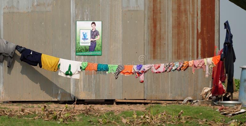 竞选海报,洞里萨湖,柬埔寨 免版税图库摄影