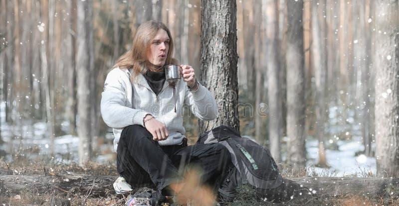 竞选的一个人喝茶 一个年轻旅客在森林加州 免版税库存照片