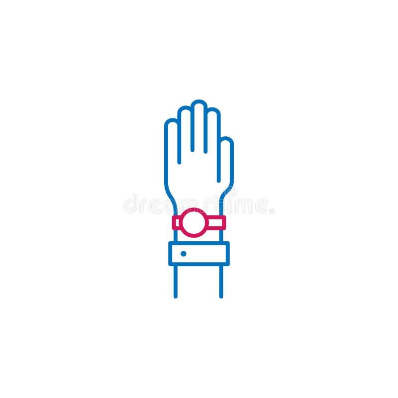 竞选,手,誓言概述上色了象 能为网,商标,流动应用程序,UI,UX使用 皇族释放例证