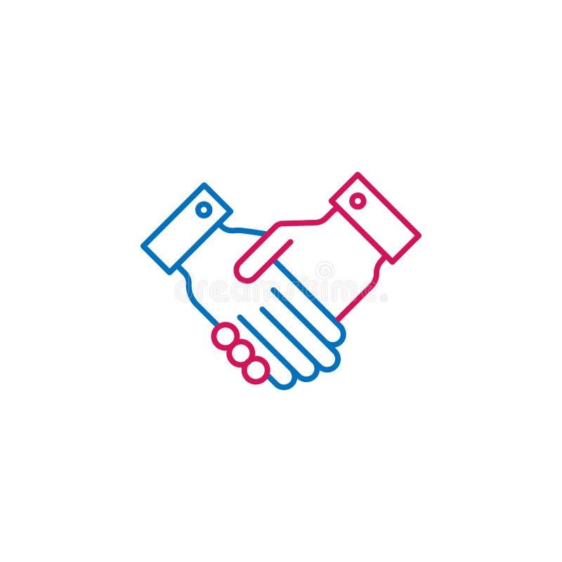 竞选,握手概述上色了象 能为网,商标,流动应用程序,UI,UX使用 皇族释放例证