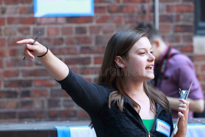 竞选组织者为支持召集在马丁奥马利事件在得梅因,衣阿华 库存图片