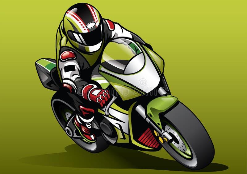 竟赛者乘驾sportbike 皇族释放例证