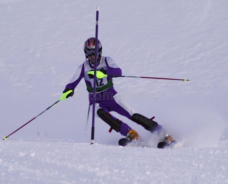 竟赛者障碍滑雪 库存图片