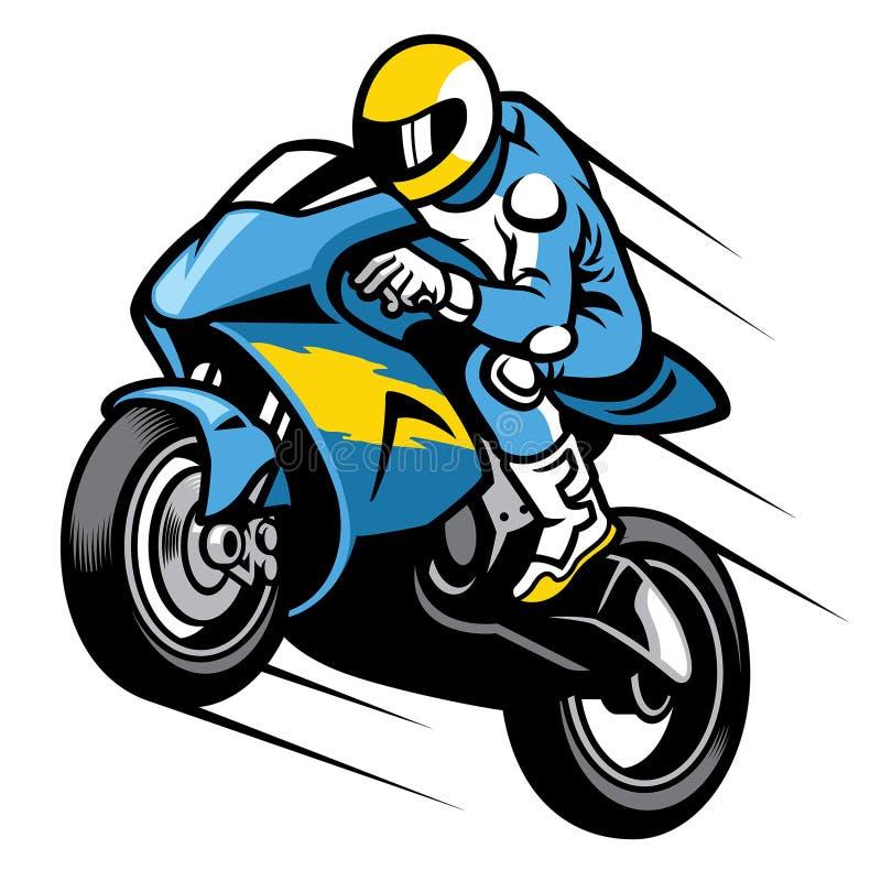 竟赛者sportbike自行车前轮离地平衡特技 向量例证