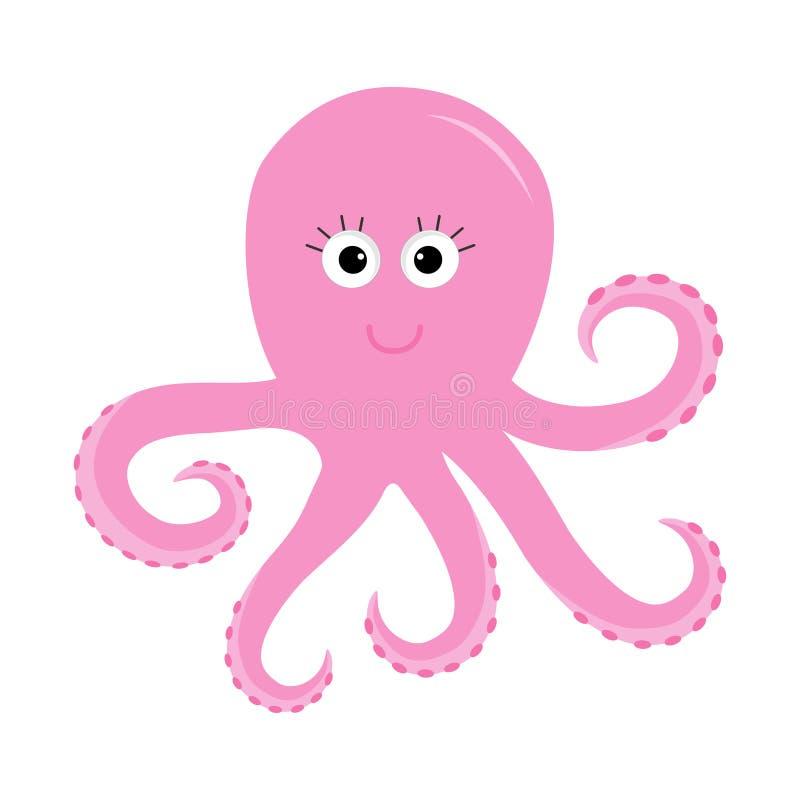章鱼动物园字母表 海洋看见孩子的水下的生活动物汇集教育卡片隔绝了白色背景平的设计 向量例证