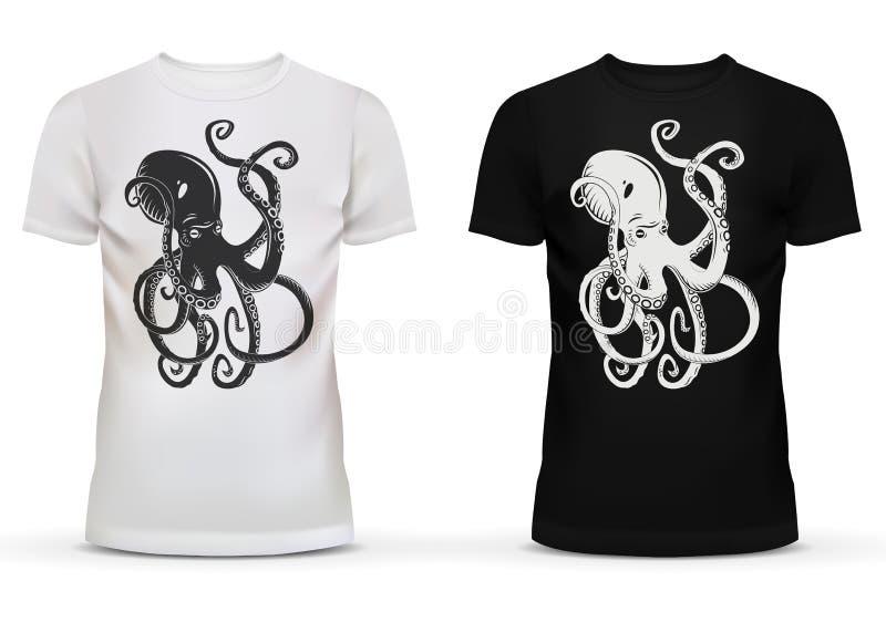 章鱼印刷品与触手的在T恤杉 库存例证