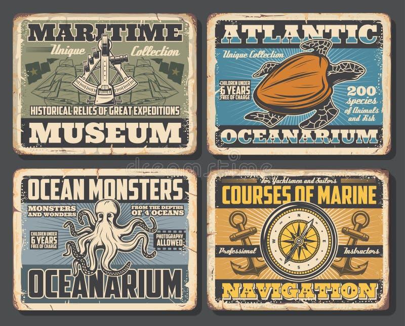 章鱼和海龟,指南针和六色海报 向量例证