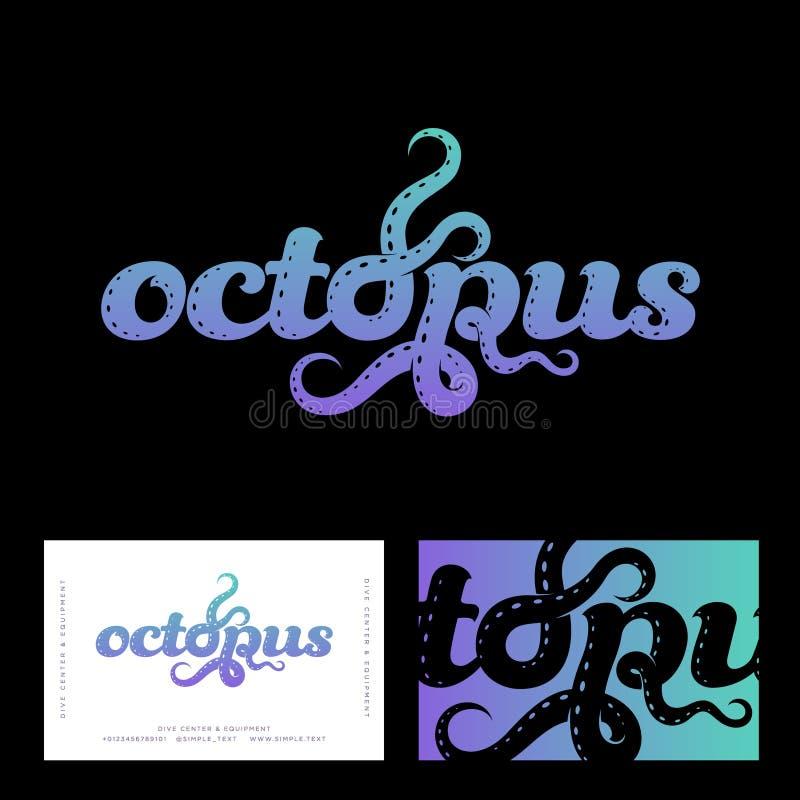 章鱼商标 海鲜餐馆商标 在与信件的构成上写字象章鱼触手 皇族释放例证