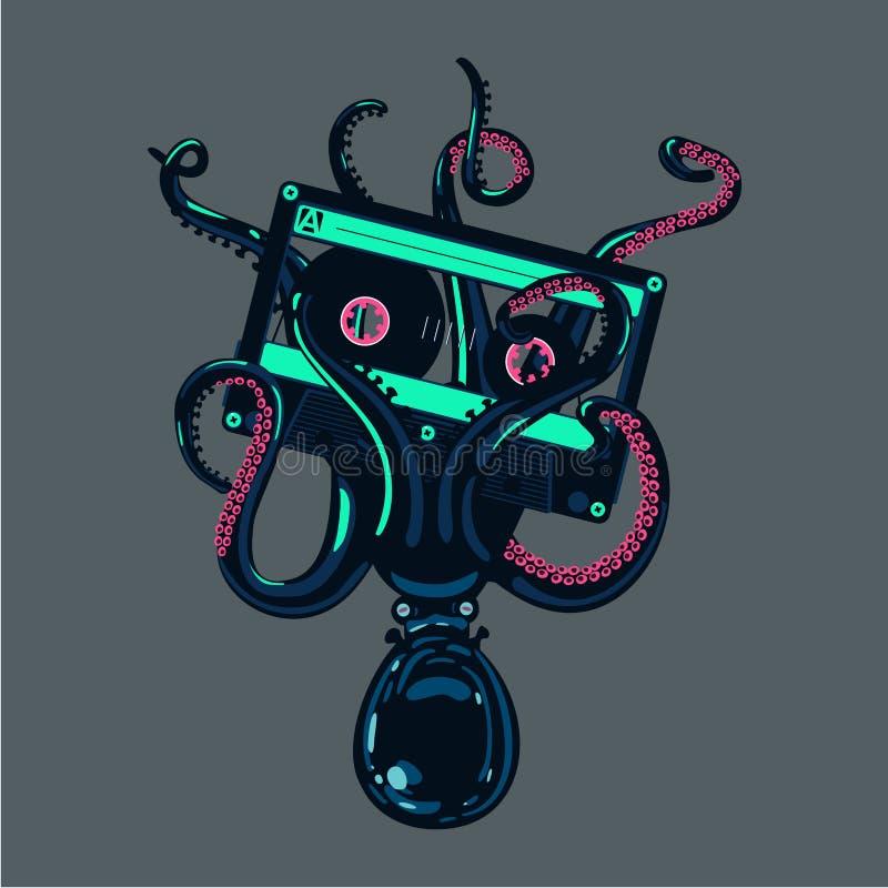 章鱼拿着在触手的一个立体声卡式磁带 守旧派节律唱诵的音乐海报 皇族释放例证