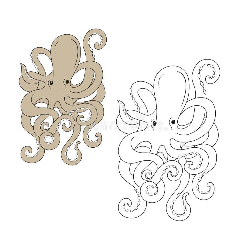 章鱼海生动物样式着色或象卡片设计的外形图的例证纸的 皇族释放例证