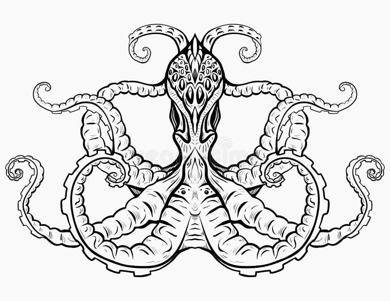 章鱼的等高黑白例证 库存例证